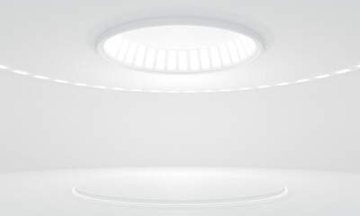 Obraz 3D Rendering of white empty modern showroom with blank pedestal and led lighting. For product display - fototapety do salonu