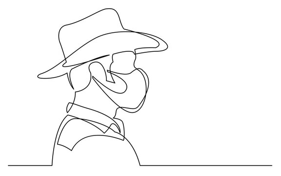 continuous line drawing of isolated on white background profile portrait of man in cowboy hat