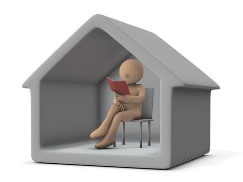 ステイホーム。自宅で読書をして過ごすキャラクター。白バック。3Dレンダリング。