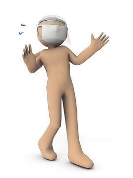 フェイスガードをつけたキャラクター。彼は驚き、後ずさる。白バック。3Dレンダリング。