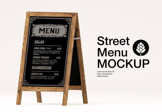 Street Menu Board Mockup