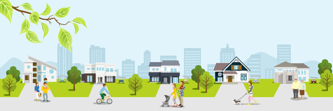 People in the residential area, Springtime townscape - Banner ratio
