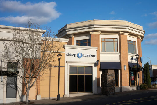 Tigard, OR, USA - Feb 10, 2021: The Sleep Number store in Bridgeport Village Shopping Center in Tigard, Oregon. Sleep Number claims to be the most successful brand in the adjustable air-bed category.