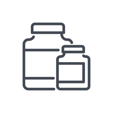 Sports nutrition line icon. Jars with supplements vector outline sign.
