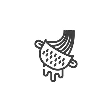 Noodles strainer line icon. Cooking spaghetti linear style sign for mobile concept and web design. Spilling pasta into a strainer outline vector icon. Symbol, logo illustration. Vector graphics