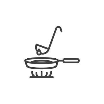 Making pancakes on frying pan line icon. linear style sign for mobile concept and web design. Crepes cooking on stove outline vector icon. Symbol, logo illustration. Vector graphics