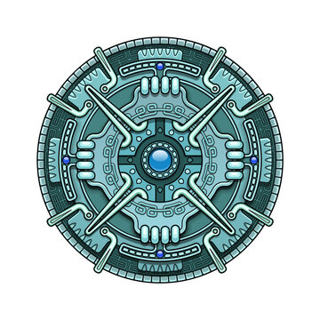 Ethnic circle element in mayan and some aztec calendar ornaments style. Vector illustration isolated on white