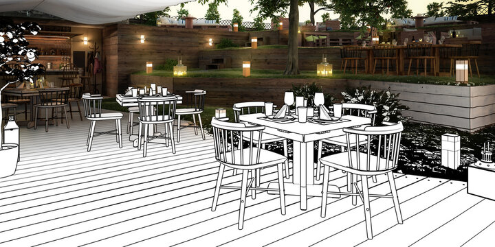 Inside Garden Pub & Restaurant (drawing) - panoramic 3d visualization