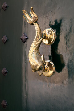 Vintage door handle in shape of dolphin, Malta