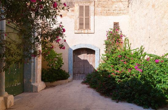 Street view with old wooden door and flowers. Malta, Rabat
