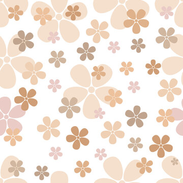 Seamless Floral Pattern of skintones flowers vector illustration. Plant background for fashion, wallpapers, print.