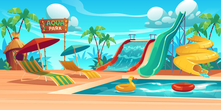 Aqua park with water slides, swimming pool, loungers and umbrellas. Vector cartoon tropical landscape with resort aquapark with colorful spiral pipe waterslides and inflatable rings