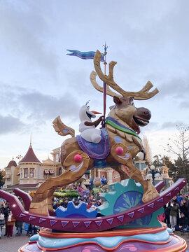 Disney OLAF snowman Frozen during the parade in Disneyland Paris park in Marne-la-Vallee