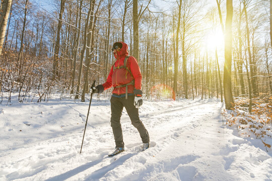 Man in outdoor gear hiking through snowy forest in the winter with beautiful sunlight