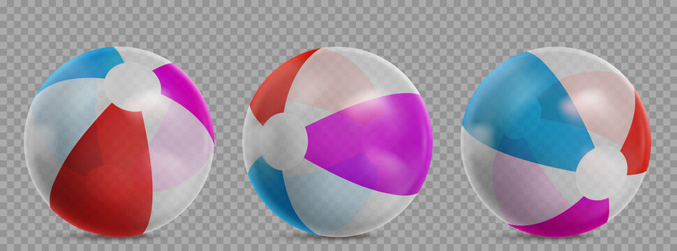 Inflatable beach ball for play in water, swim pool or sea. Vector realistic set of striped clear rubber beachballs with different colors isolated on transparent background