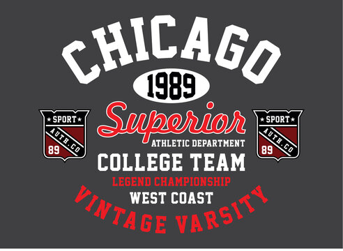 Athletic sport chicago, superior, typography for t shirt print and other uses, vector illustration