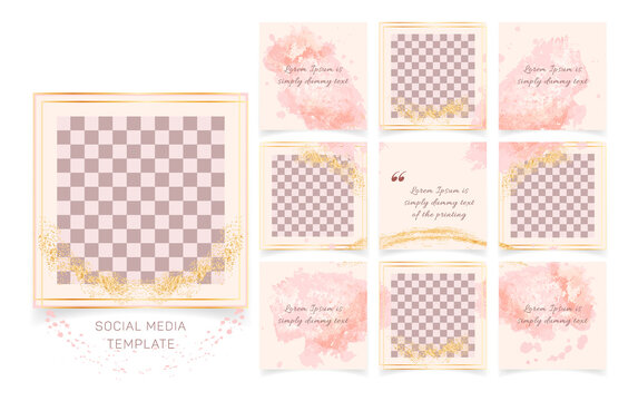 Editable abstract square instagram social media posts banners templates. Minimalist fashion golden frame background with pastel pink brush strokes. Suitable for social media posts, covers, puzzle feed
