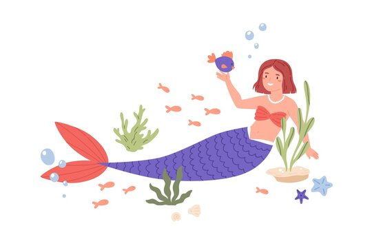 Pretty mermaid with violet tail playing with fish at sea bed. Cute underwater fairy princess in seashell bra and necklace. Colored flat cartoon vector illustration isolated on white background