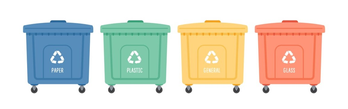 Containers or recycle bins for paper, plastic, glass and general trash. Concept of separate garbage collection. Dumpsters of different colors isolated on white background. Flat vector illustration