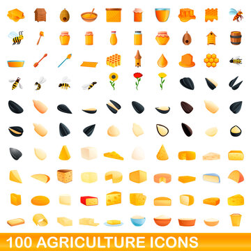100 agriculture icons set. Cartoon illustration of 100 agriculture icons vector set isolated on white background