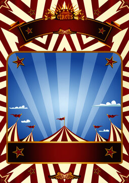 Circus blue sky background. A blue circus background for a poster with a big top in a blue sky with sunbeams !