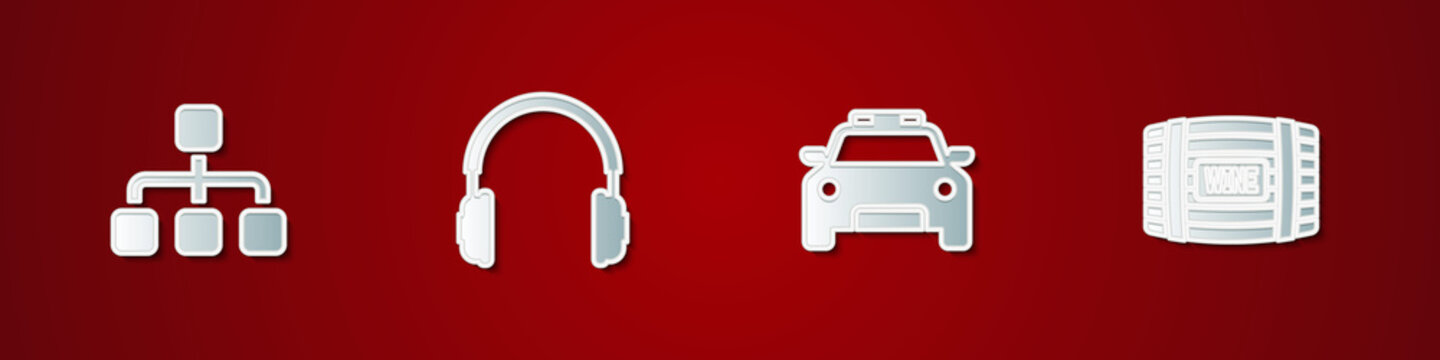 Set Hierarchy organogram chart, Headphones, Police car and flasher and Wooden barrel for wine icon. Vector.