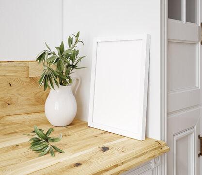 Frame mockup in kitchen interior background, Farmhouse style, 3d render