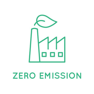 Zero emission factory. Industrial building  chimney with green leaf. Zero emission sign, logo, icon, symbol. Clean industry. Environmental responsibility concept. Vector illustration, flat, clip art.