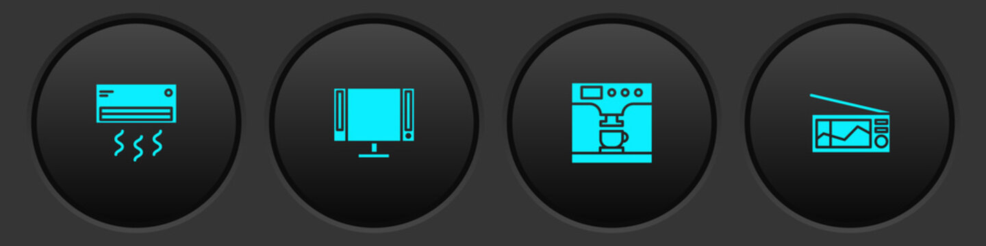 Set Air conditioner, Smart Tv, Coffee machine and cup and Radio icon. Vector.