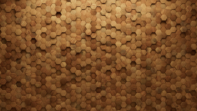 Wood Block Wall background. Mosaic Wallpaper with Light and Dark Timber Hexagon tile pattern. 3D Render