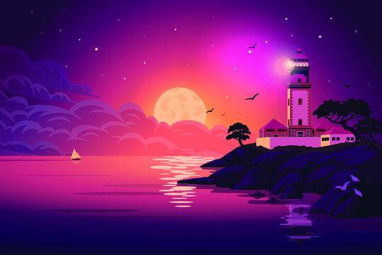 Lighthouse Landscape Illustration