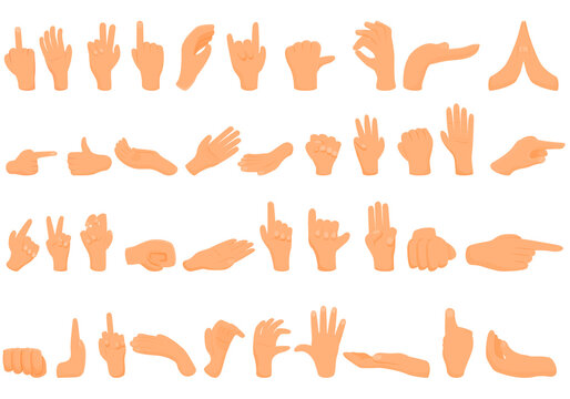 Hand gestures icons set. Cartoon set of hand gestures vector icons for web design