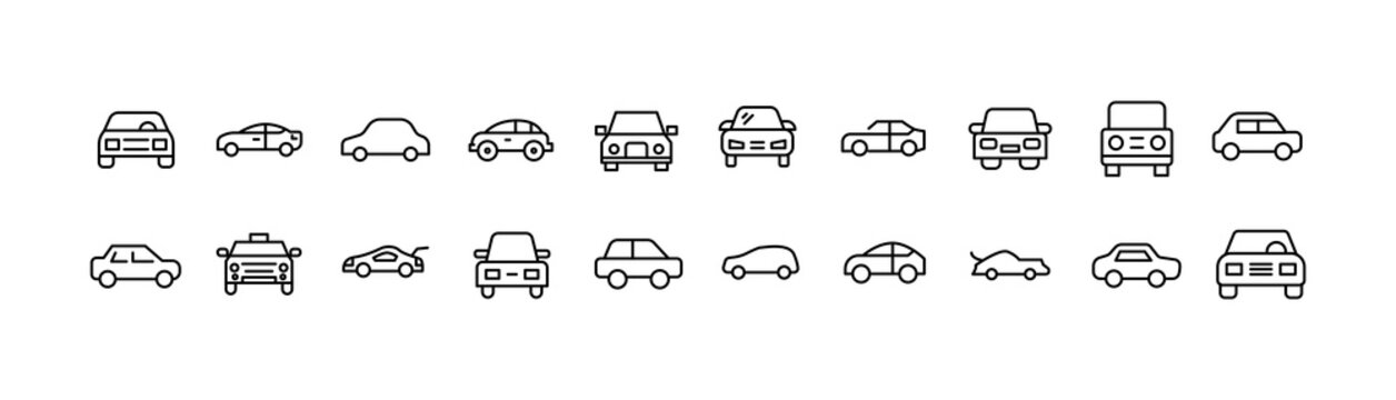 Simple line set of car icons.