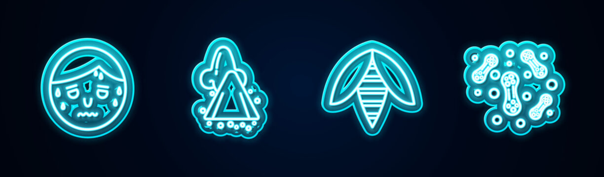 Set line Man with excessive sweating, Runny nose, Bee and Bacteria. Glowing neon icon. Vector.