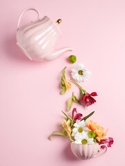 Creative layout with tea pot pouring fresh flowers and leaves into tea cup on pastel pink background. Creative floral spring bloom concept. Flat lay.