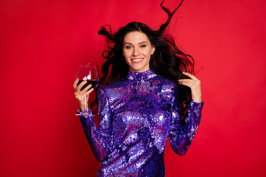 Photo of fancy pretty nice woman fly air hold wine glass bachelorette good mood isolated on red color background