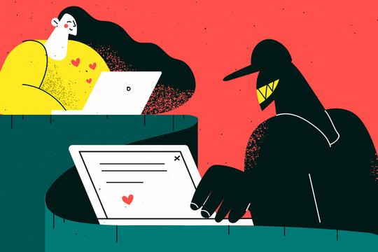 Online fraud, trick in internet dating concept