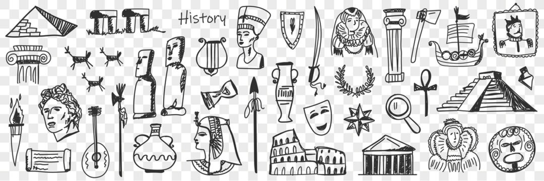 Symbols of history doodle set. Collection of hand drawn ancient sculptures monuments jugs masks theatres buildings wreaths musical instruments torch ships isolated on transparent background
