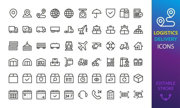 Logistic, delivery and shipping isolated icon set. Set of map pin, way, cargo insurance, container, tracking package, warehouse robot, forklift truck, port crane, boxes, transportation vector icon