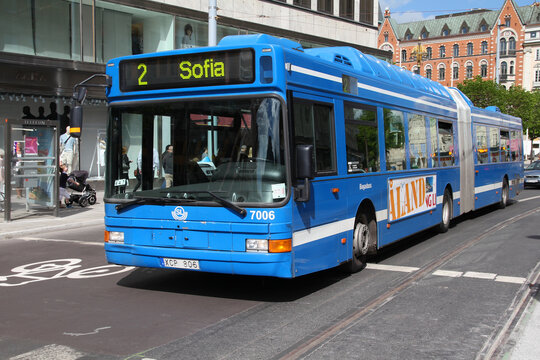 Blue Volvo B10L articulated bus on May 31, 2010 in Stockholm, Sweden. Volvo, currently 2nd bus manufacturer worldwide, has an ad campaign for new bi-articulated buses to be introduced in Europe.