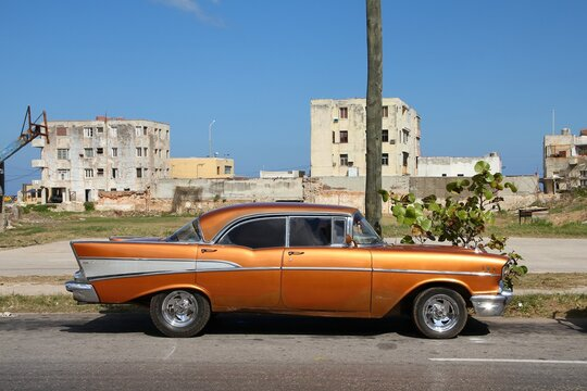 HAVANA, CUBA - FEBRUARY 24, 2011: Classic American 1957 Chevrolet Bel Air car in Havana. American oldtimer cars are important feature of Cuban culture.