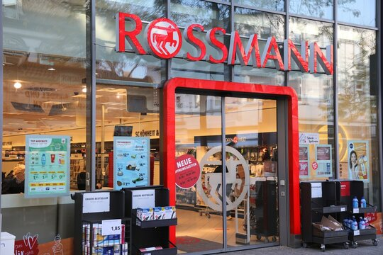 HERNE, GERMANY - SEPTEMBER 17, 2020: Rossmann cosmetics and beauty shop in Herne, Germany. Total retail sales in Germany amounted to 450 billion EUR in 2013.