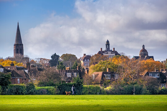 Hampstead Garden Suburb, skyline of the early 20th century suburb in autumn with spire of St. Jude's church and residential housing, Barnet, London