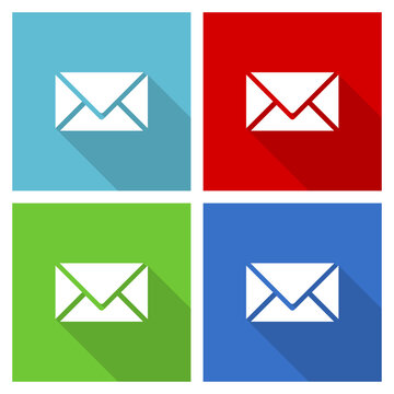 Email, envelope icon set, flat design vector illustration in eps 10 for webdesign and mobile applications in four color options