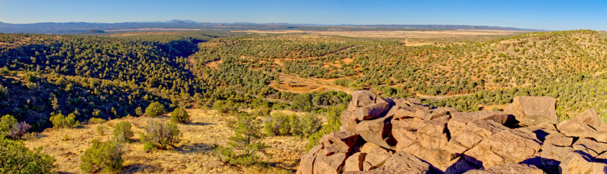 Prescott National Forest panorama viewed from a cliff on the edge of MC Canyon near Drake
