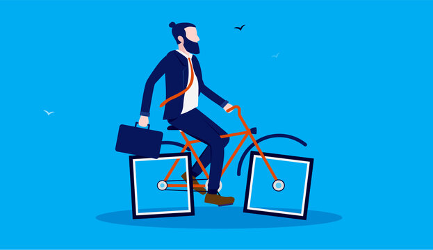 Slow business - Stupid businessman riding bike with rectangular wheels. Inefficient business and humor concept. Vector illustration.