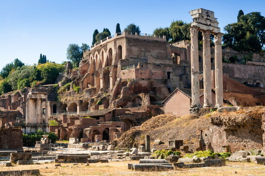 Temple of Castor and Pollux, Palatine Hill behind, Roman Forum, Rome
