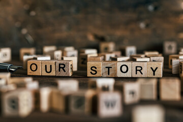 Obraz Tell us your story concept with wooden letters cubes - fototapety do salonu