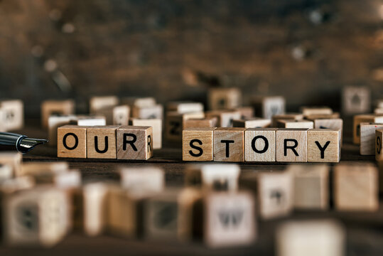 Tell us your story concept with wooden letters cubes