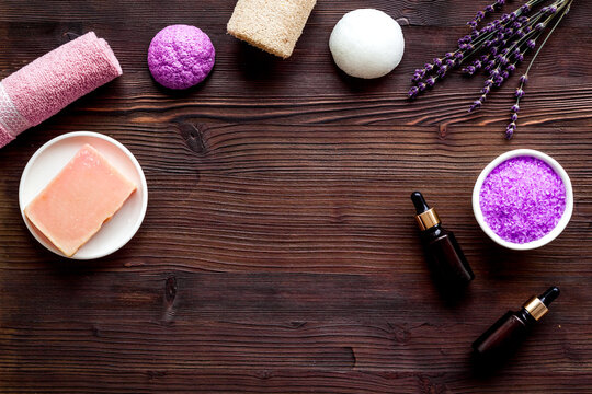 Frame of lavender cosmetics products with natural essential oil and herbs salt